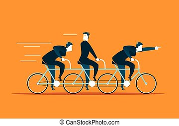 Tandem ride in the same direction. Business concept. Vector...