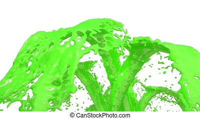 Beautiful fountain green liquid splash, fountain 3d on white background with alpha matte. Many green paint streams rising high. 3d with very high detail. Version 2