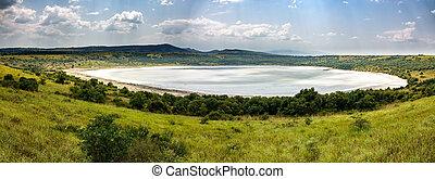 Queen Elizabeth salt lake, Uganda - Panoramic view of Queen...