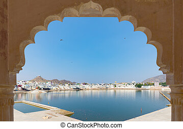 Framed view from archway at Pushkar, Rajasthan, India....