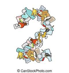 Number 2 Rubbish. Trash font two sign. garbage alphabet symbol. lettering litter