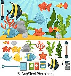 Aquarium tropical fishes and plants vector accessor set -...