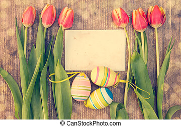 Happy Easter card - Easter eggs,fresh spring tulips and...