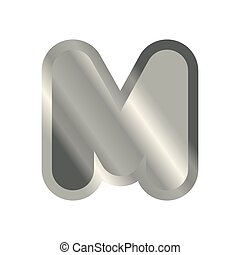 Letter M steel font. Metal alphabet sign. Iron ABC symbol....