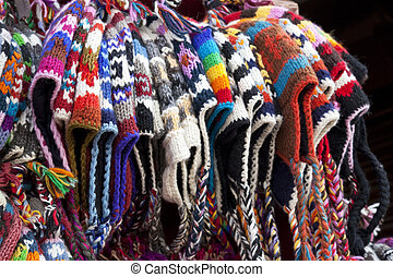 Traditional Nepalese Knitted Woolen Hats - Image of...