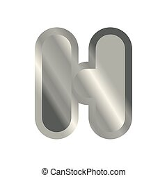 Letter H steel font. Metal alphabet sign. Iron ABC symbol....