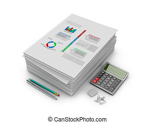A stack of documents, papers and stationery on a white...