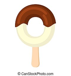 Letter O Ice Cream font. Popsicle alphabet. Cold Sweet lettering. Icecream sign ABC