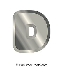 Letter D steel font. Metal alphabet sign. Iron ABC symbol....