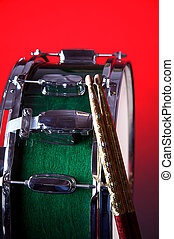 Green Snare Drum On Red - A green snare drum isolated...