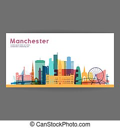 Manchester colorful architecture vector illustration.