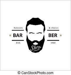 Barber shop logo. Hipster emblem. Vector illustration.