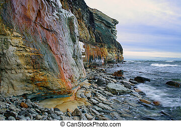 Rocky coastline of Baltic Sea Impressive rocks and swirling...