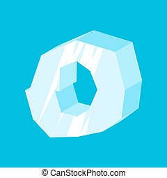 letter O ice font. Icicles alphabet. freeze lettering. Iceberg ABC sign