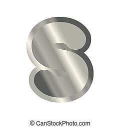 Letter S steel font. Metal alphabet sign. Iron ABC symbol....
