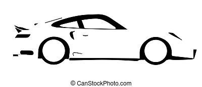 Fast Car Outline - A fast car in silhouette over a white...