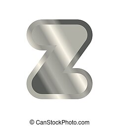Letter Z steel font. Metal alphabet sign. Iron ABC symbol....