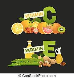 Vitamin C Image - Vitamin C and Vitamin E vector...