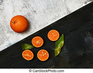 The group of fresh fruits - The group of fresh mandarins on...