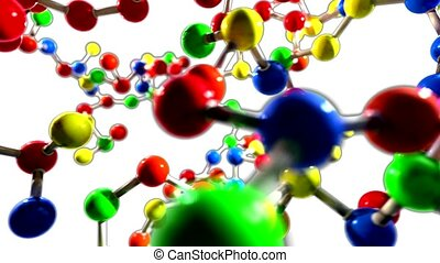 Molecule ball and stick model fly through atoms chemistry...