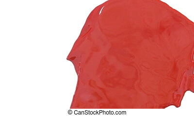 Flow of red paint splattering on white background and dripping down over white. 3d render with alpha mask for background, transition or overlays. Version 6