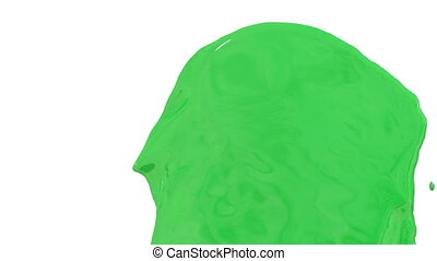 Flow of green paint splattering on white background and dripping down over white. 3d render with alpha mask for background, transition or overlays. Version 5