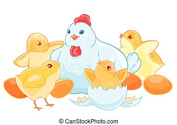 Cartoon mother hen sits on the eggs. Brood of cute little Chicks.