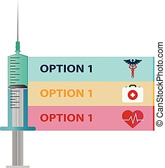 Medical care. Syringe for injection vaccine . Vector flat...