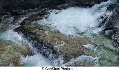 Huge River Rushing Over Volcanic Rocks - Wide shot of large...