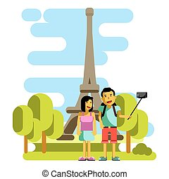 Young couple taking selfie near Eiffel Tower. Vector illustration
