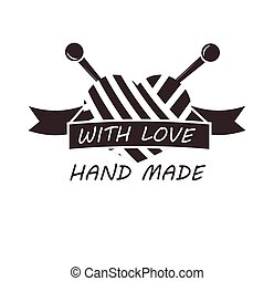 Hand made with love logotype design of thread and needles