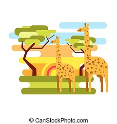African savannah safari and giraffe summer vacation vector -...