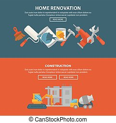 Home renovation and construction vector web banner....
