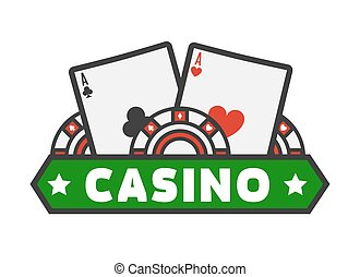 Casino colorful logotype with cards isolated on white. Vector illustration