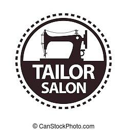 Tailor salon, dressmaker atelier or shop vector icon...