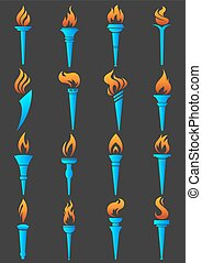 Torch flame logo templates. Symbols of flaming sport games...