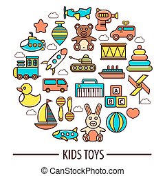 Kid toys or children playthings vector poster - Kid toys...