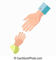 Charity symbol of helping hand vector icon template -...