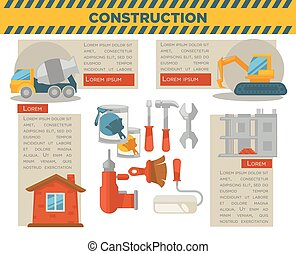 Construction and building infographics vector template -...