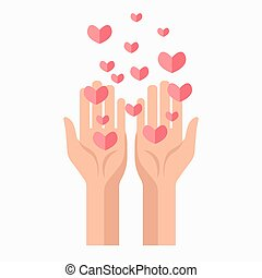 Charity hands and hearts blood donation vector template icon...