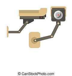 Day and Night wireless surveillance camera isolated on...