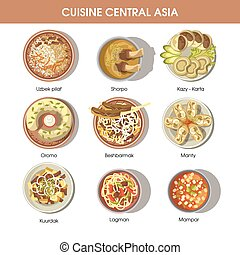 Central Asia food cuisine vector icons for restaurant menu -...