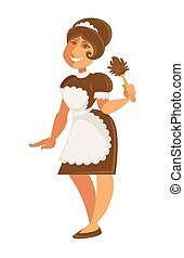 Maid or housekeeper woman in apron and duster vector...