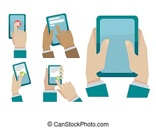 Hands tapping smartphone vector flat icons set