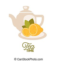 Tea kettle with lemons on saucer isolated on white. Vector...