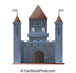 Ancient grey castle isolated in flat design. Vector...