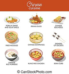 Chinese cuisine traditional dishes vector flat icons set -...