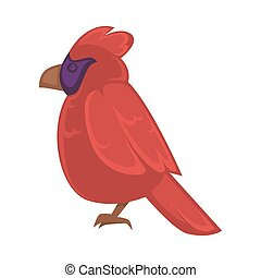 Big exotic red bird with violet face and brown beak