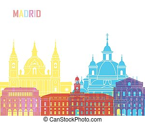 Madrid V2 skyline pop in editable vector file