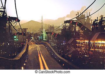 sci-fi scenery of highway street on futuristic city with...